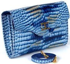 RAPHAEL Crocodile Blueish CLUTCH Bag Pochette Handbag EXOTIC Leather ITALY LUNAR