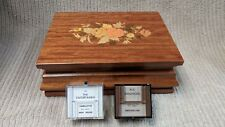 """CARILLETTE REUGE WOODEN MUSIC BOX W/""""THE ENTERTAINER"""" & """"RAINDROPS KEEP FALLING"""""""