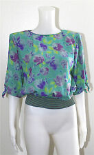 UNGARO PARIS SIZE 8 BLOUSE TOP SHIRT MADE IN ITALY STYLISH SILK GREEN PURPLE