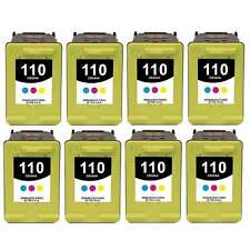8-PACK Remanufactured HP 110 Color Ink Cartridge Set for PhotoSmart A827 Printer