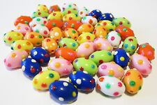 50 pcs Colorful Fun Easter Egg Oval Shape Dotty Plastic Bead Big Hole 13mm New
