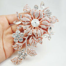 Rose Gold-tone Vintage Style Flower Woman Brooch Pin Clear Rhinestone Crystal