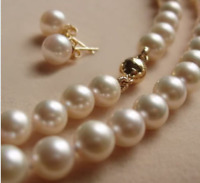 8MM White Akoya shell Pearl Necklace + Earring AAA 18'' Set