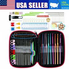 100pcs Ergonomic Crochet Hooks Set Knitting Needle Kit Zipper Organizer Case Usa