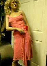 Vintage Betsy Johnson Dress Silk Pink Salmon Body Con Sheath Size 4