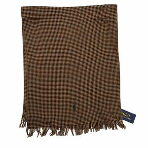 Polo Ralph Lauren Houndstooth Check Brown Wool Fringed Mens Scarf