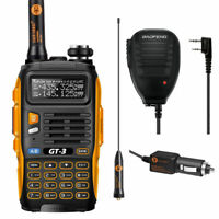 Baofeng GT-3 MKII 2m/70cm Band VHF UHF Ham Two-way Radio Walkie Talkie + Speaker