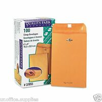 100 BUSINESS ENVELOPES 6x9 Kraft Clasp Manila Shipping Catalog Yellow Brown Flap