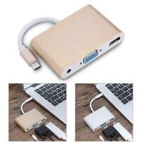 USB3.1 TypeC to HDMI+VGA+3.5mm Audio Female Adapter Converter HDMI VGA Out 1080P