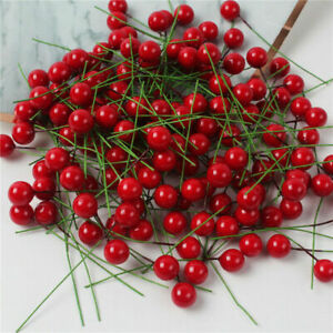 100pcs Red-Berries Artificial Fake Fruits Christmas Craft Holly Berry Pick Decor