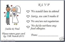 Pack Of 20 RSVP Cards To Accompany Wedding Invite Bride & Groom with Top Hat