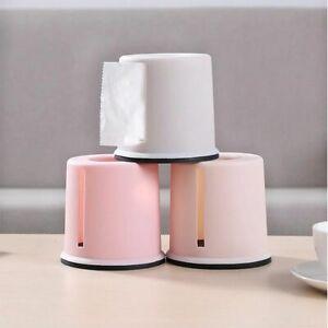 Living Room Toilet Roll Paper Holder Towel Cover Round Plastic Tissue Box