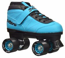 Epic Nitro Turbo Blue Quad Roller Speed Skates & 2 pr Laces Blue & Black