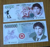 LOTTO 2 BANCONOTE LIRE 100000 500000 UMBERTO BOSSI 1996 TIRATURA LIMITATA