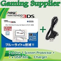 2in1 Set Top & Bottom Screen Protector Cover Film For Nintendo 3DS + USB Charger