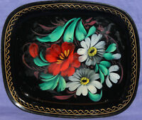 Vintage Russian hand painted floral metal tole tray