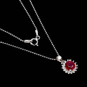 Round Red Ruby 6mm Cz 14K White Gold Plate 925 Sterling Silver Necklace 18 Ins