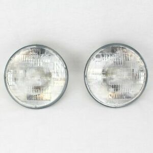 "7"" Halogen Sealed Beam Glass Headlight Head Light Headlamp Bulbs Pair 6V 6 Volt"