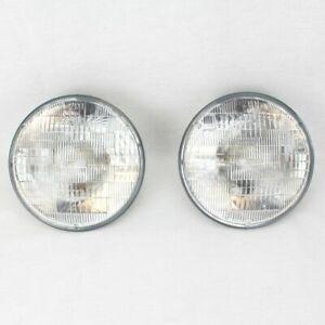 "7"" Halogen Sealed Beam Glass Headlight Head Light Headlamp Bulbs Pair 6V 6 Volt"