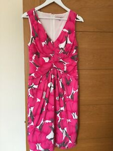 Phase Eight Pink Tulip Pattern Summer Dress Size UK 14 Fully Lined