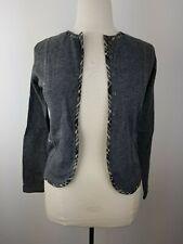 ADOLFO DOMINGUEZ feinstrick Damen Wolljacke Wolle Strickjacke Jacke grau Dt. S M