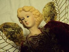 Tree Top Angel Christmas 17 inch with Porcelain head and hands Red gold Fur