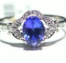 1.47CT 14K Gold Natural Tanzanite Diamond Vintage AAA Wedding Engagement Ring