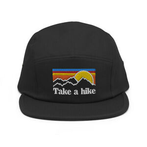 Take a Hike Hiking Mountains Adventure Outdoor Embroidered Five Panel Cap Hat