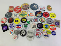 """Lot of 43 Random Assorted Button Badges Pins Vintage & New 1.5""""-3.5"""""""