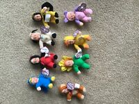 """VINTAGE 1997 MERITUS BABY BEANS TEENY BEANS CHARACTER DOLLS 5""""T LOT OF 8"""