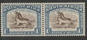 South Africa 1933-48 1/- Brown & chalky blue with Blue scratch SG 62 Mint.