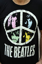 LogoShirt THE BEATLES BLACK Indie Pop Culture T SHIRT MENS TOP Peace sign M