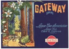 GATEWAY Vintage Lemon Cove Crate Label, redwoods, Sequoia, **AN ORIGINAL LABEL**