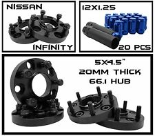 COMPLETE BLACK 20MM WHEEL SPACERS PLUS 20 BLUE 12x1.25 SPLINE LUG NUTS 5x114.3