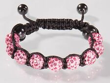 Shamballa Damen Armband Strass Glitzer Kristall pink rosa lila rose Armreif OVP