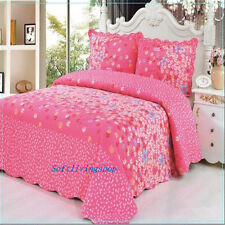 Queen King Patchwork Quilted Bedspread Coverlet Blanket 100 Cotton Floral Pink