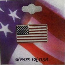 US Flag pin, rectangle shape, silvertone, Made in the USA,on patriotic card
