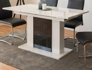 Esstisch weiß Hochglanz schwarz Marmor Küchentisch ausziehbar 140-180 cm Brügge