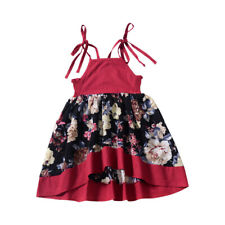 Kids Toddler Girls Princess Dress Floral Party Wedding Dresses Strappy Sundress