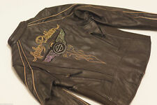 Harley Davidson Women's 110th Anniversary Black Leather Jacket L 97147-13VW New