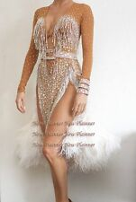 K6316 Feather fur Ballroom women Latin chacha rumba dance dress Tailor made