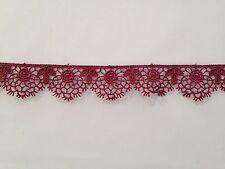 Cinta de cinta de vino marroquí de encaje de corte confección artesanal festoneado floral