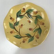 Southern Living Gail Pittman Acorn Pattern Hand Painted Fluted Serving Bowl