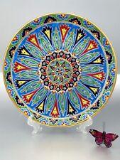 "Keramikos Nassos Art Plate Hand Painted Rhodes Greese ""Rodos Hellas"" 11-1/2"""