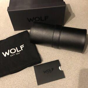 WOLF Blake 305602 Travel Triple Case Black Leather GREY Watch Roll BNIB RRP £209