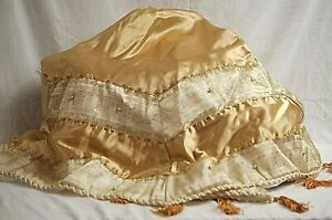 Christmas Tree Skirt Gold Satin w Gold Beads & Tassels Round Base Xmas Decor 50""