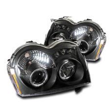 2005 2006 2007 JEEP GRAND CHEROKEE BLACK SET HALO PROJECTOR DRL LED HEAD LIGHTS