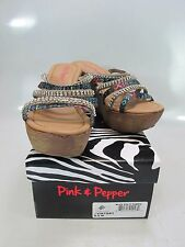 PINK AND PEPPER Womens VIKTORY Blue Multi Fabric Wedge Sandals US 8.5M