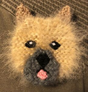 CAIRN TERRIER FAWN KNITTED BROOCH