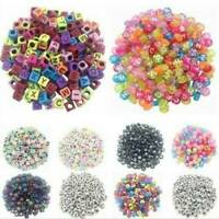100x/SET Spacer Acrylic Beads Cube Alphabet Letter Bracelet Jewelry DIY Making